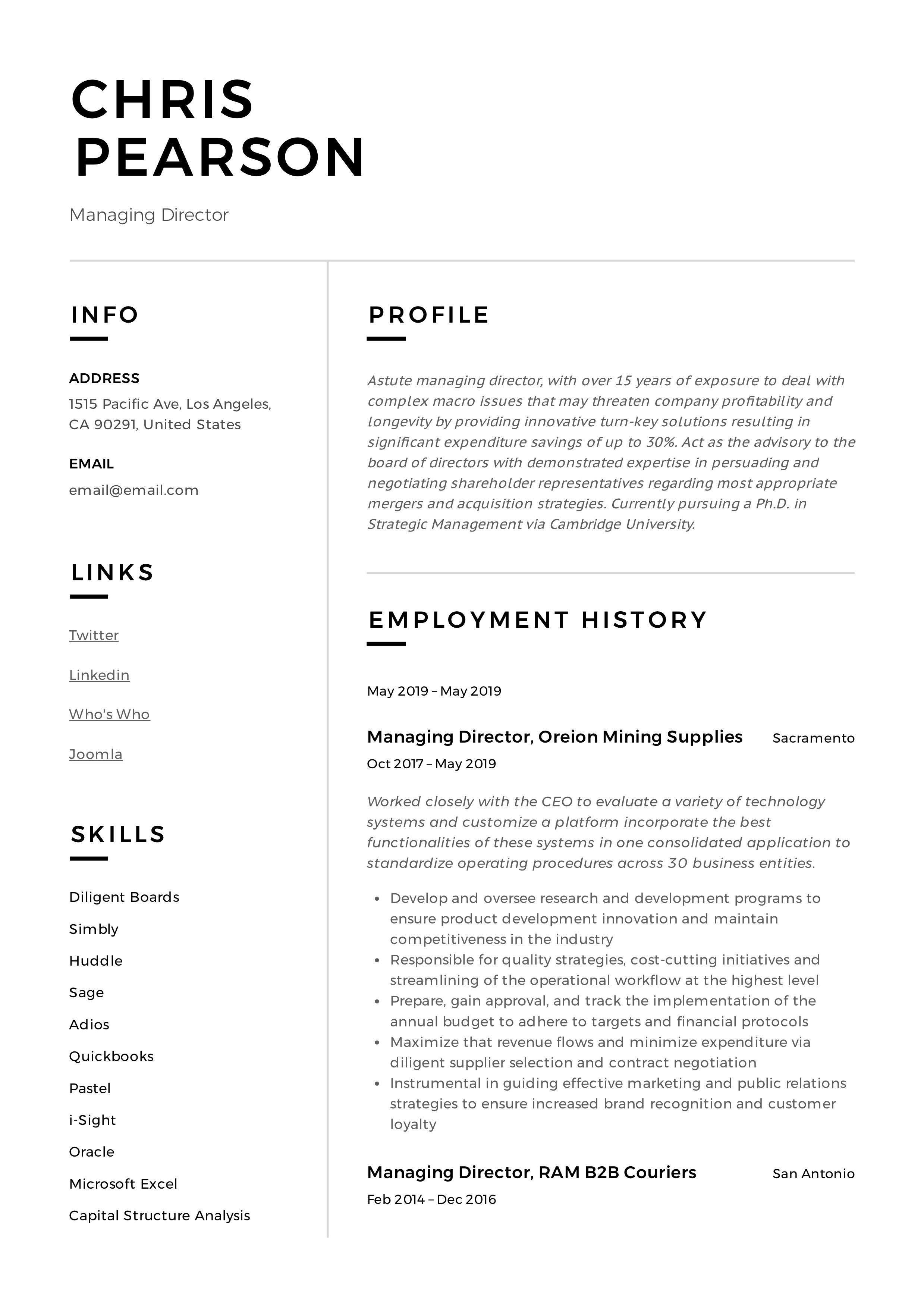 Managing Director Resume Sample in 2020 Guided writing