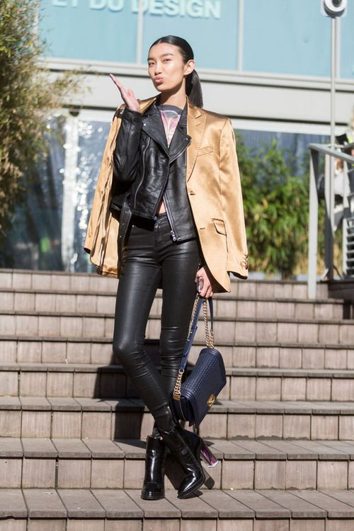 Women's Black Leather Jacket, Tan Satin Blazer, Charcoal Print ...