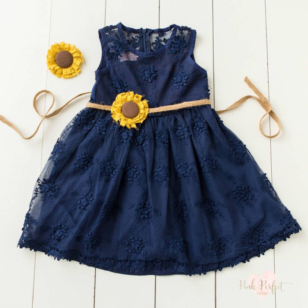 Flower Dress: Navy Blue Flower Girl Dress, Rustic Flower Girl Dresses
