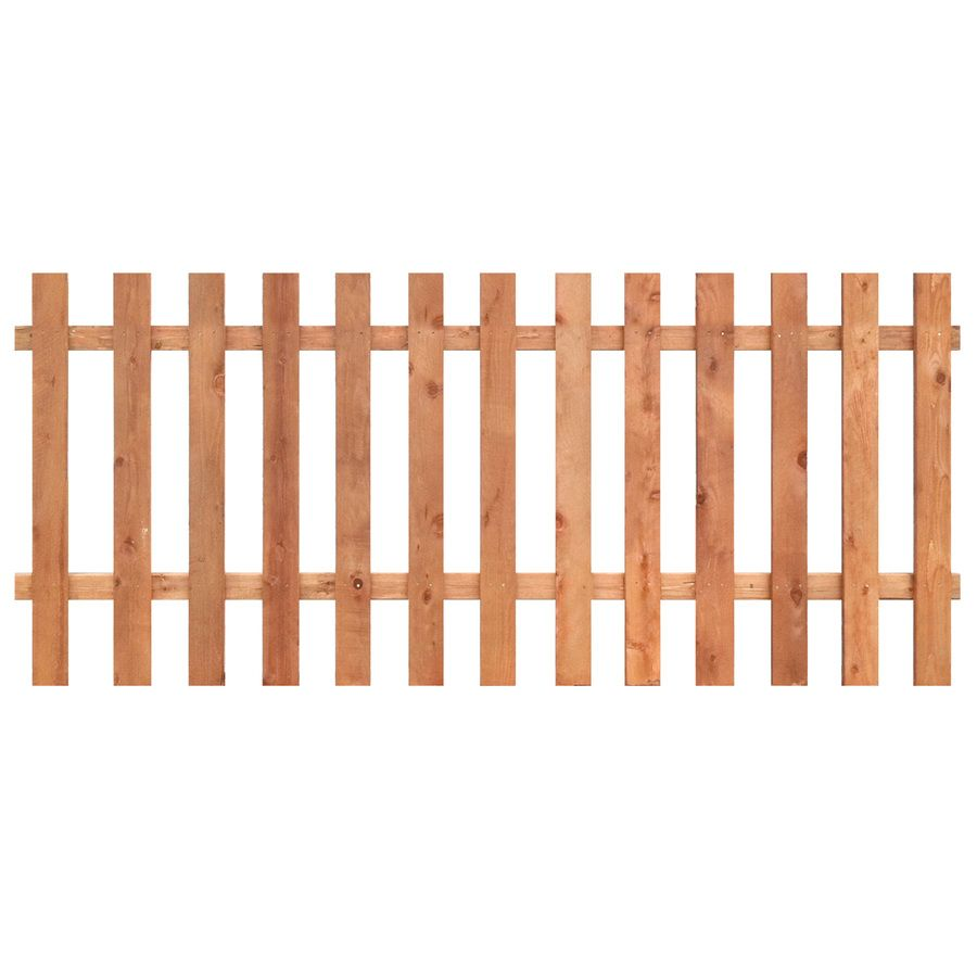 Actual 3 5 Ft X 8 Ft Western Red Cedar Spaced Picket Flat Top Wood Fence Panel Lowes Com Picket Fence Panels Wood Picket Fence Fence Panels