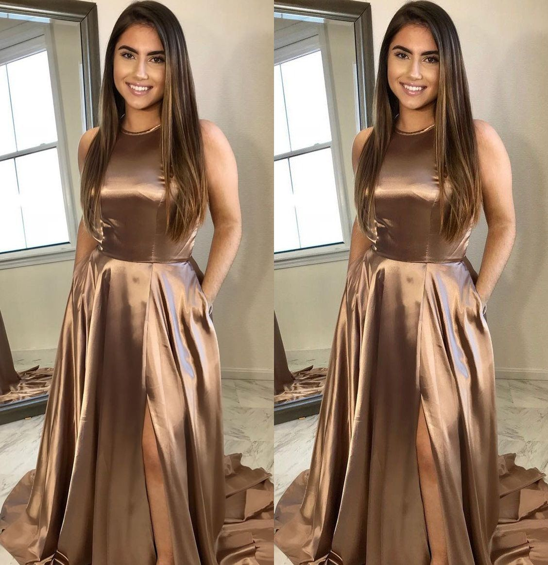 Simple long prom dresses aline evening formal dresses with high