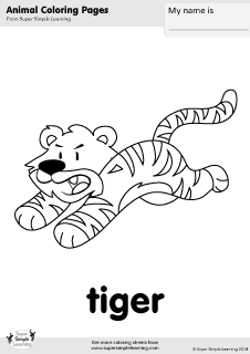 Free Tiger Coloring Page From Super Simple Learning Tons Of Animal Worksheets And Flashcards