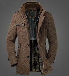 Mens Extra Thick Slim Fleece Wool Blazer Dual Standup Collar Coat ...