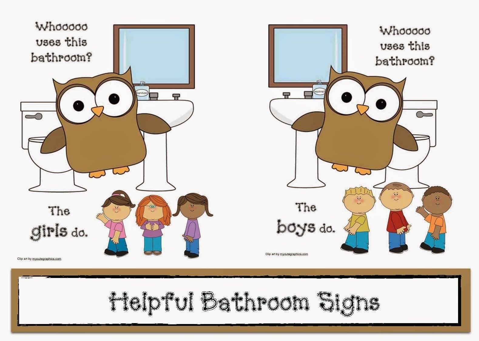 Bathroom signage classroom freebies classroom for Bathroom signs for classroom