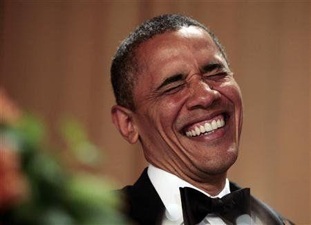 Znalezione obrazy dla zapytania obama laughing