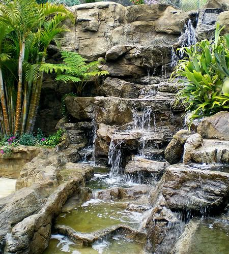 Make and keep up artificial rock waterfalls landscape for Artificial pond water