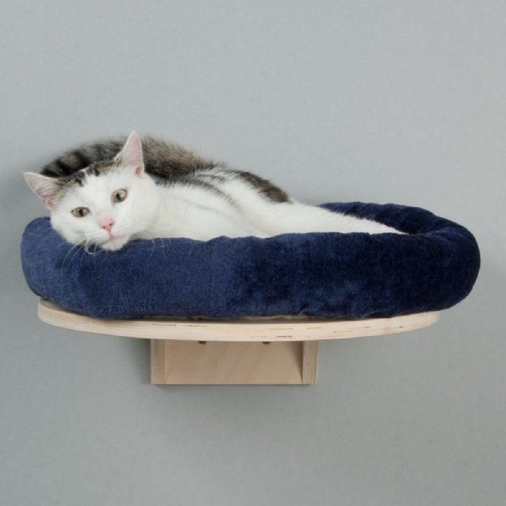 Wall Mounted Cat Bed With Plush Round Cushion Blue Cama Mascota