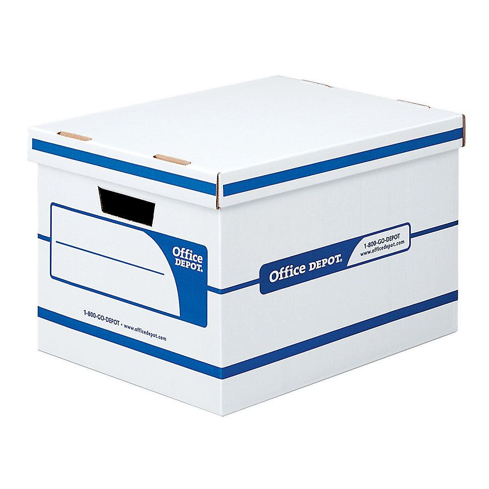 Office Depot Brand Quick Set Up Storage Boxes With Lift Off Lid