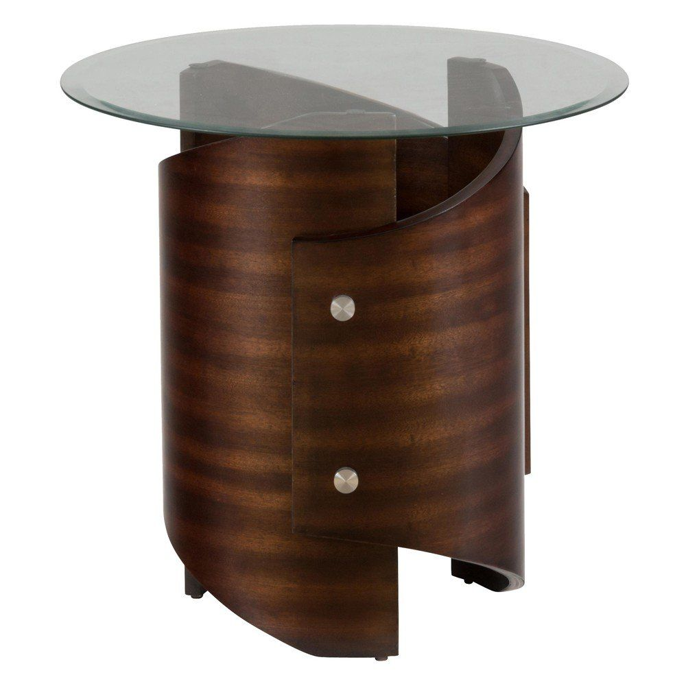 Waterville Walnut Glass Top End Table 956 3b 956 3g Decor South
