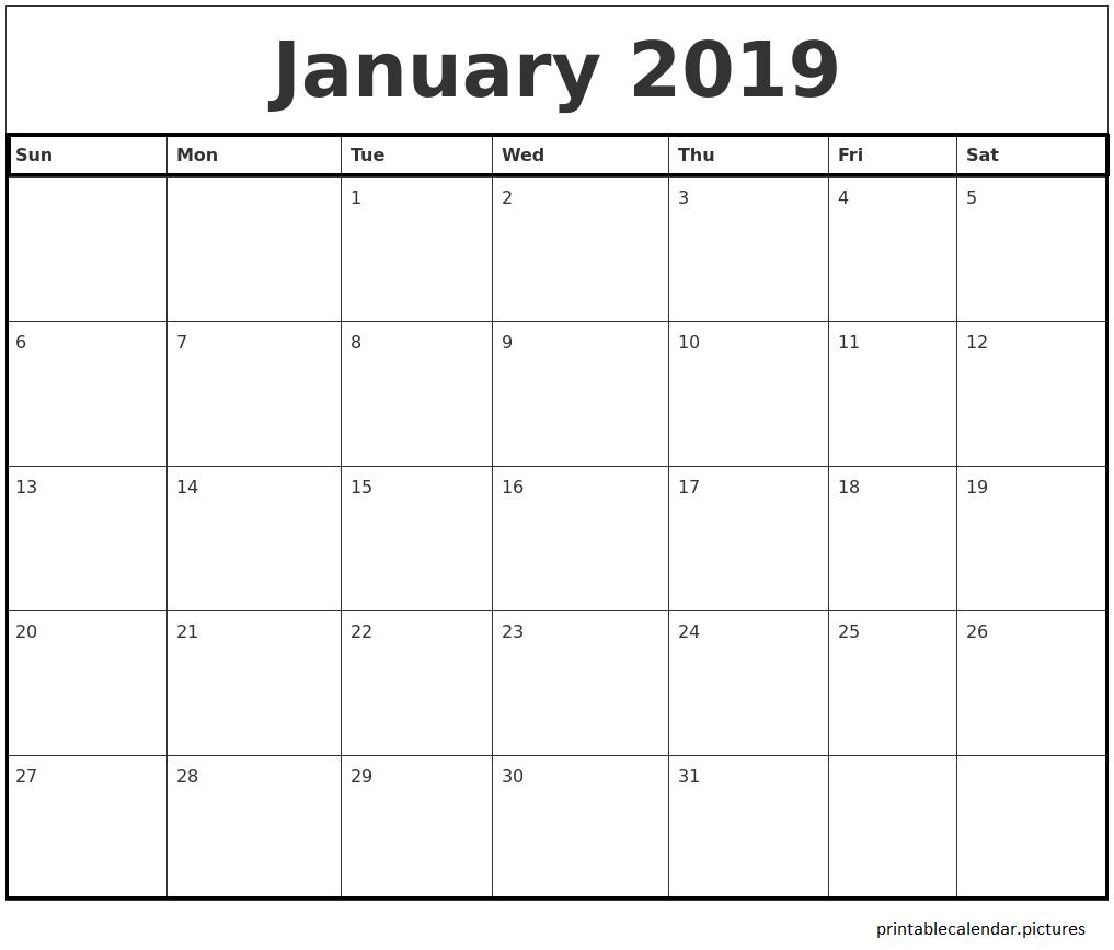 Kids 2019 January Calendar January 2019 Calendar Free Printable | January 2019 Printable