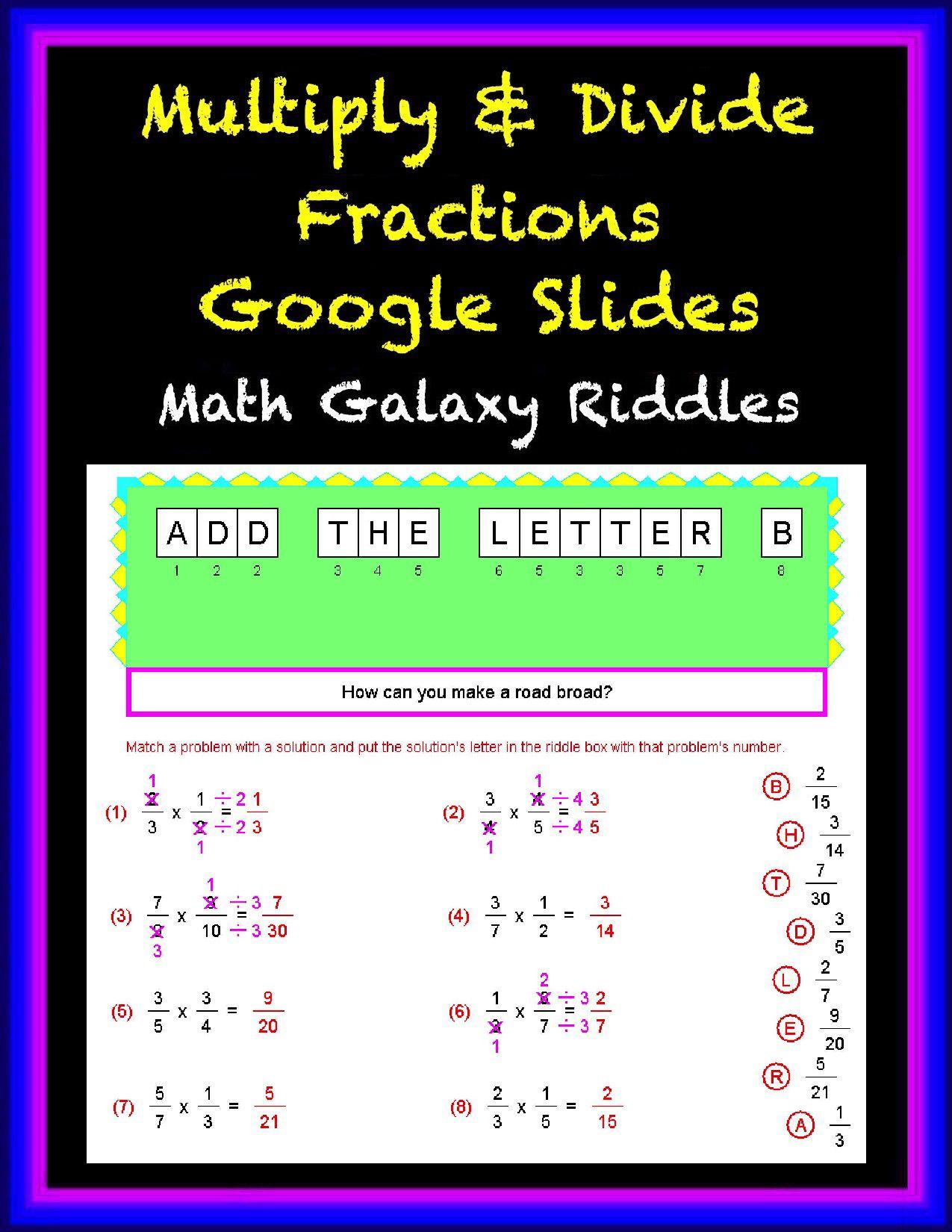 Multiply & Divide Fractions Google Classroom Slides