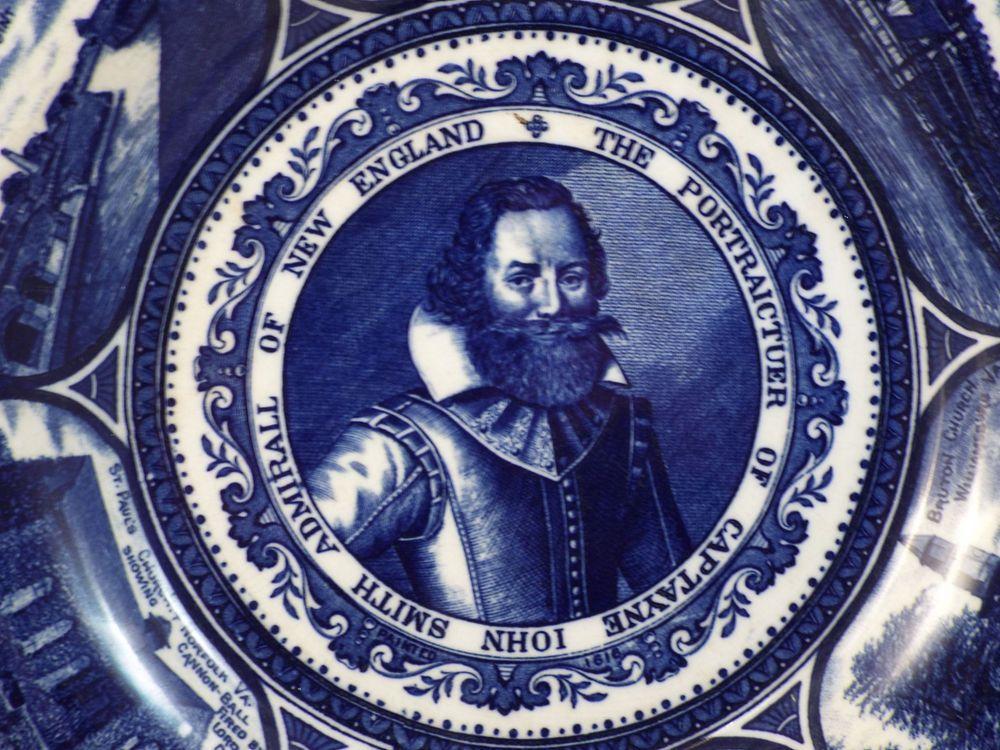 Antique HAMPTON Roads VA Captain John Smith Flow Blue Plate ...