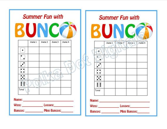 SUMMER Beach Bunco Score Card Sheet with by PolkaDotDigitals - bunco score sheets template