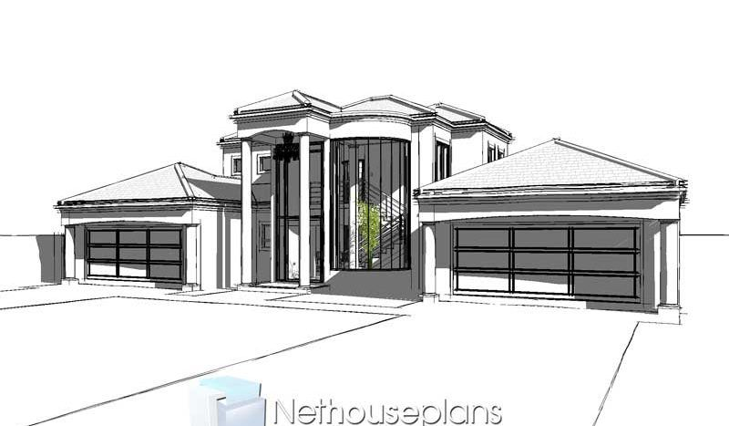5 Bedroom Double Storey House Plan In South Africa Nethouseplansnethouseplans In 2020 Double Storey House Double Storey House Plans Tuscan House Plans