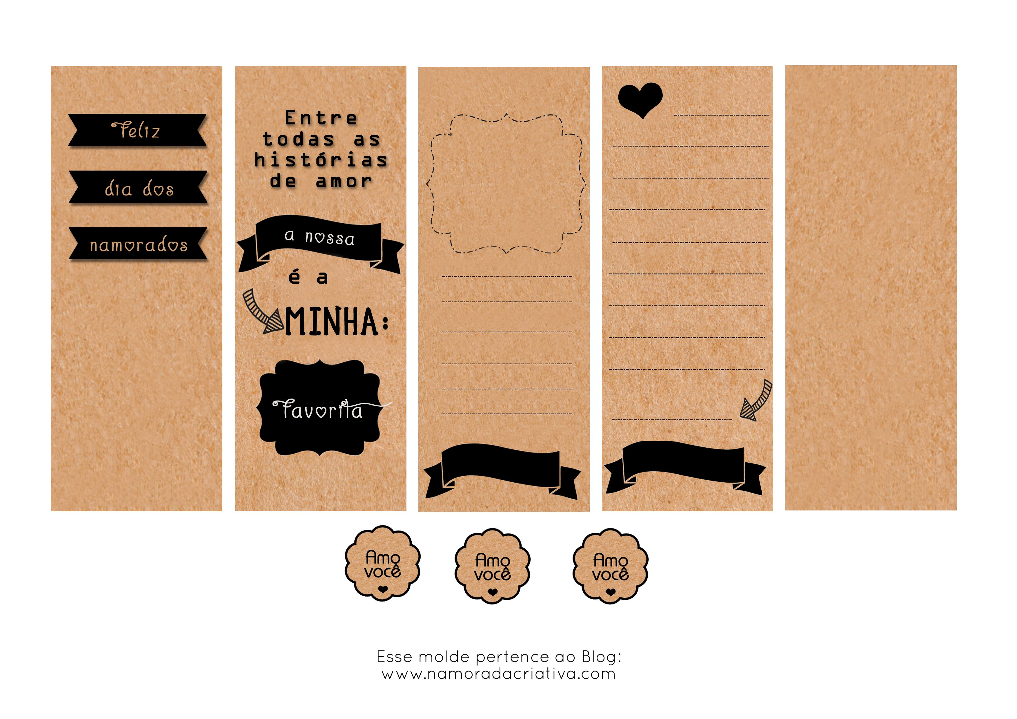 Molde Cartão dia dos Namorados Preto