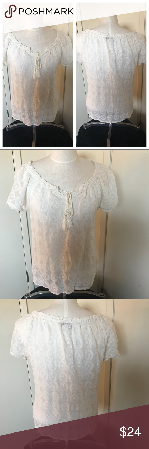 b45acfa97651c9 Lucky Brand cream lacy print blouse sz med Lucky Brand cream lacy  embroidered blouse sz med. Peasant style inspired. Very feminine. Bundle and  save.