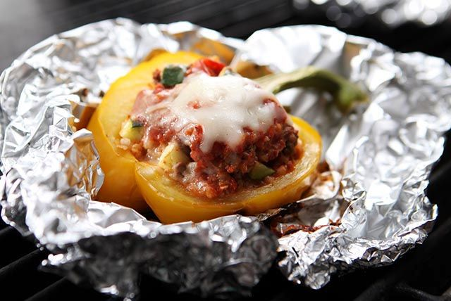 If you like your stuffed peppers cheesy and saucy, you'll like this combination of ground beef and zucchini with spaghetti sauce and mozzarella cheese.