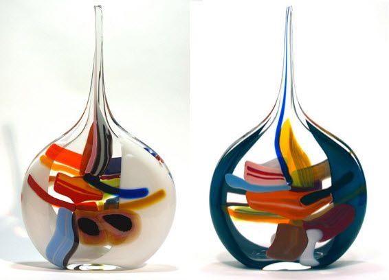 multi colored glass vases - Colored Glass Vases