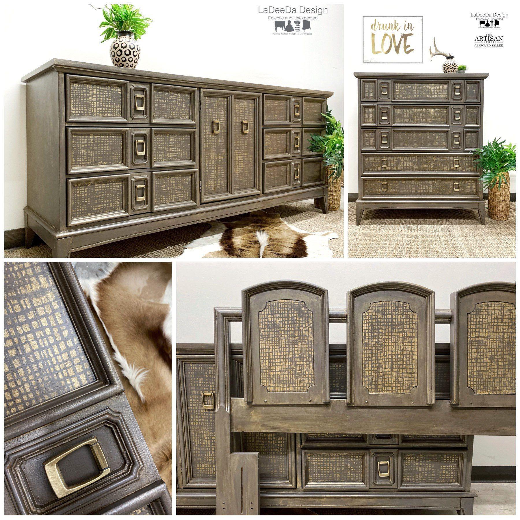 Vintage Wood Dresser Set, Long Dresser, Tall Dresser