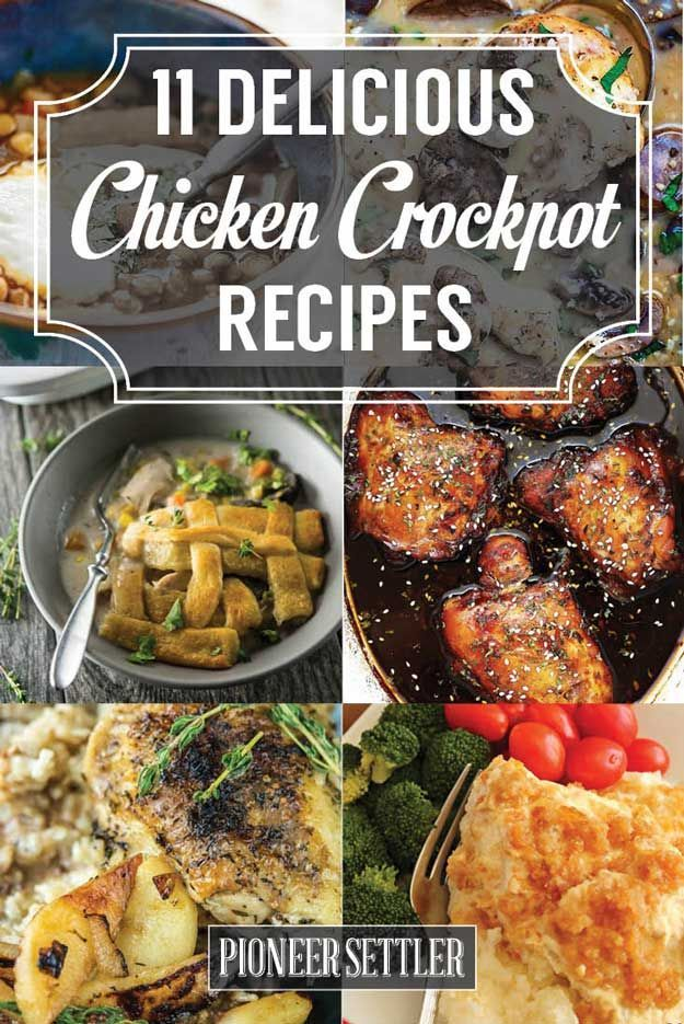 11 Succulent Chicken Crockpot Recipes To Make For Dinner | Quick And Delicious Recipes by Pioneer Settler at http://pioneersettler.com/chicken-crockpot-recipes/