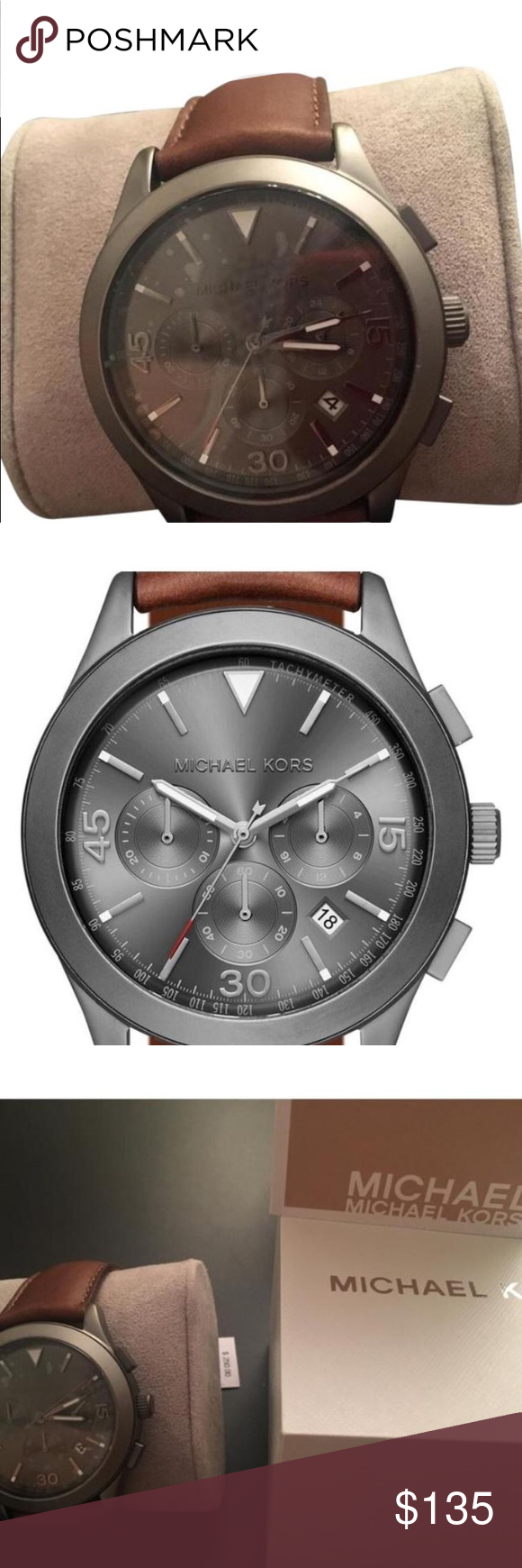 ee2616d4f165 Michael Kors MK 8471 watch Gun metal gareth and brown leather Chrono MK  8471 watch Item