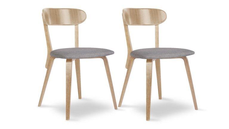 lot 2 chaises vintage bois assise tissu bleu gris mobiliermoss