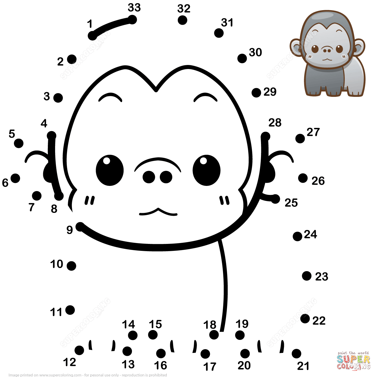 Image result for gorilla dot to dots Free printable