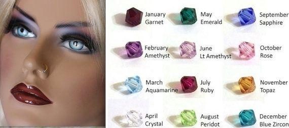 Gold Nose Ring  Swarovski Crystal Birthstone by moviestarjewelry