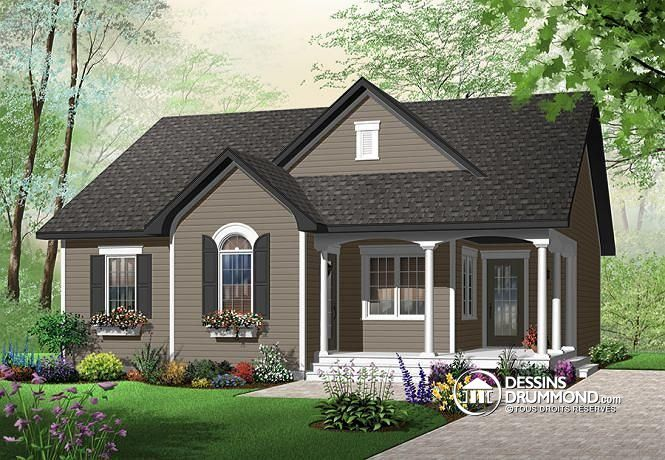 W3118 - Bungalow transitionnel économique, cuisine avec îlot, 2 - plan de maison avec patio