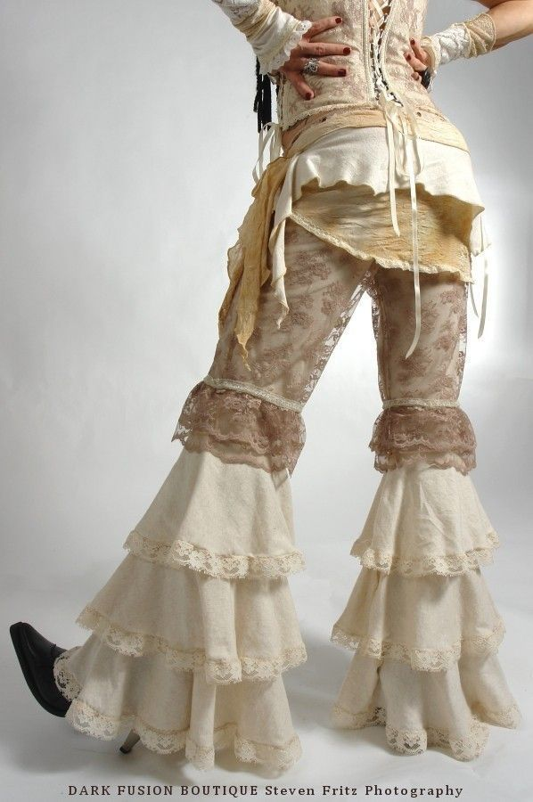 Pants, YOUR SIZE, Dance, Ruffles, Black Rock, Steampunk,Tribal,