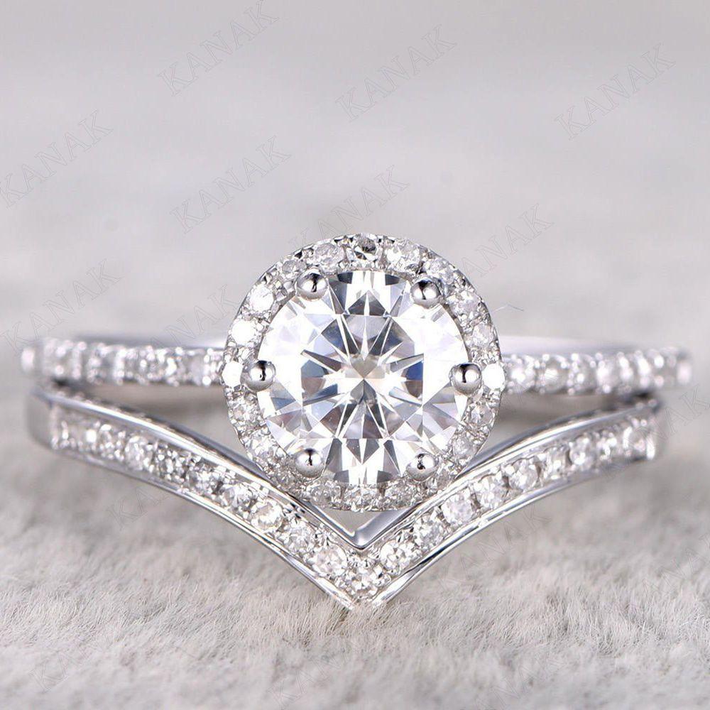 17b165da72b5e 1.50 CT Round Cut Diamond Halo Bridal Set Engagement Ring 10k White Gold   Kanak