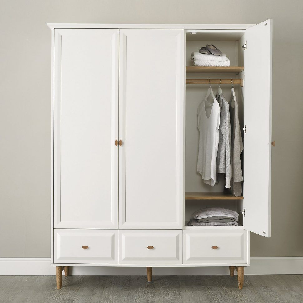 Bedroom Furniture White Small Wooden Armoire Leg Wardrobe Cabinet Classic Minimalist Style Bedroom Storage G Wardrobe Design Wardrobe Furniture Large Wardrobes