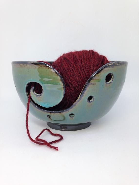 Blue Knitting Bowl, Ceramic Yarn Bowl, Clay Crochet Bowl, Rustic Yarn Holder, Gifts for Knitters, Po #crochetbowl