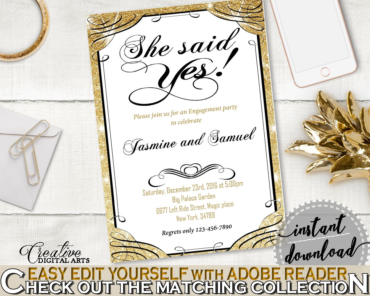 She Said Yes Invitation Editable in Glittering Gold Bridal Shower
