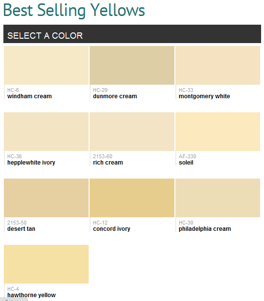Best selling yellows (Benjamin Moore) May use a shade of golden ...
