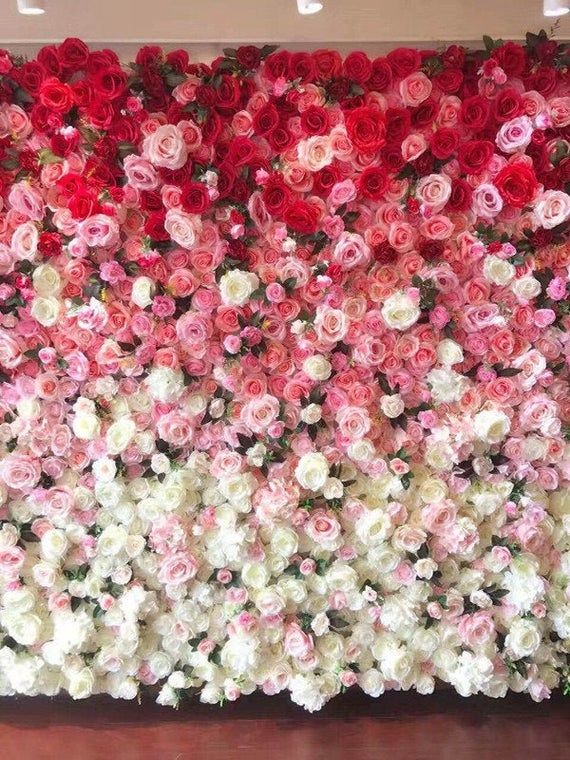 White Pink Ombre Flowers Wall Panels Large Floral Wall Backdrop Arrangement Store Wall Decor Wedding Flower Wall Flower Wall Backdrop Flower Wall Decor
