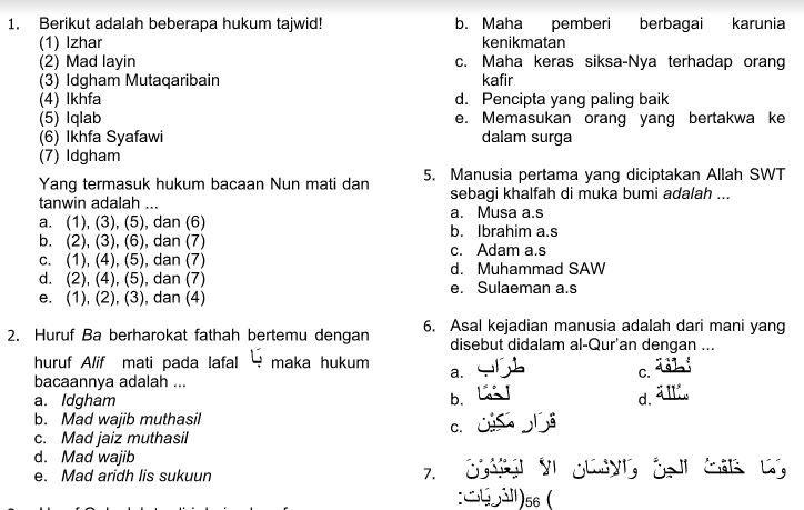 Download Soal Uas Pai Kelas 4 Dan Kunci Jawaban