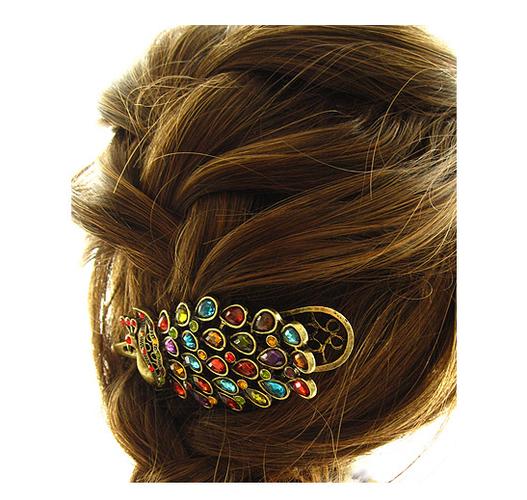 Beautiful Peacock Hairpin & Bracelet set, starting at $10.