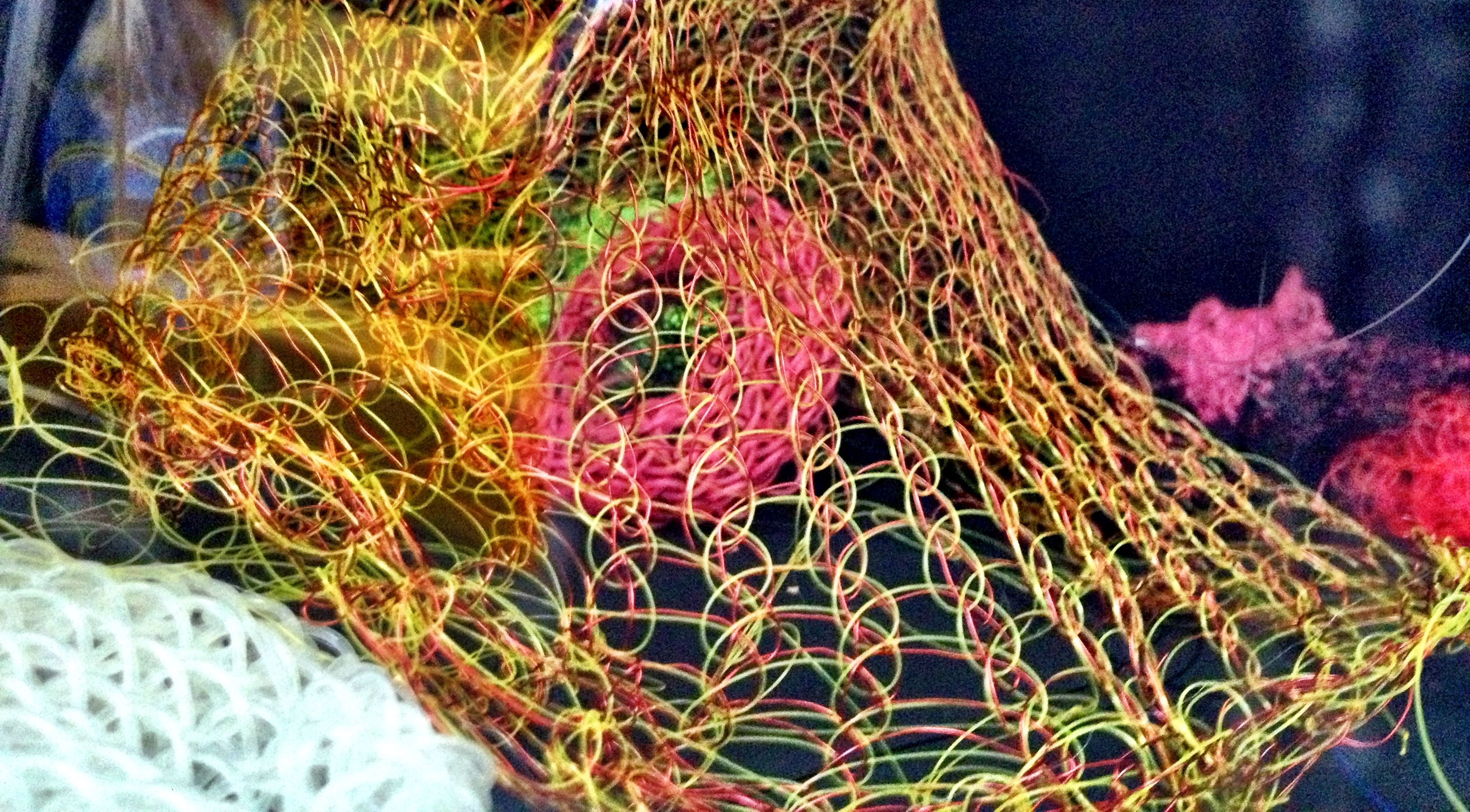 Jelly yarn and wire jellyfish knitted