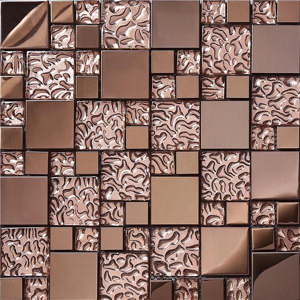 12 X 12 Decorative Tiles Mesmerizing Sa0739Brown Glass Metal Mosaic 12 Inx 12 Inx 8 Mm Mesh Design Ideas