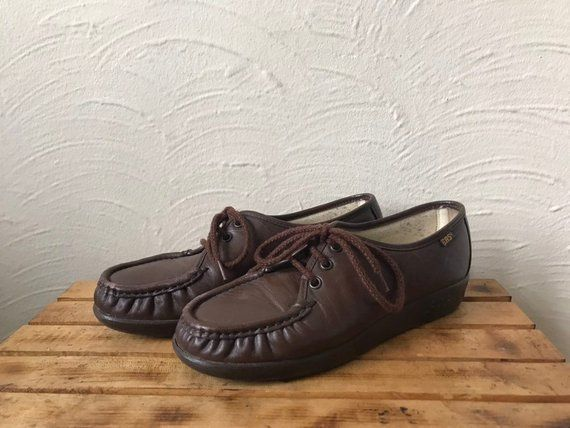 275d0f73d521c vintage 80s/90s SAS brown leather lace-up loafers/ankle booties ...