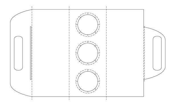Coffee Cup Holder Paper Design. Beverage Drink Handle Mockup