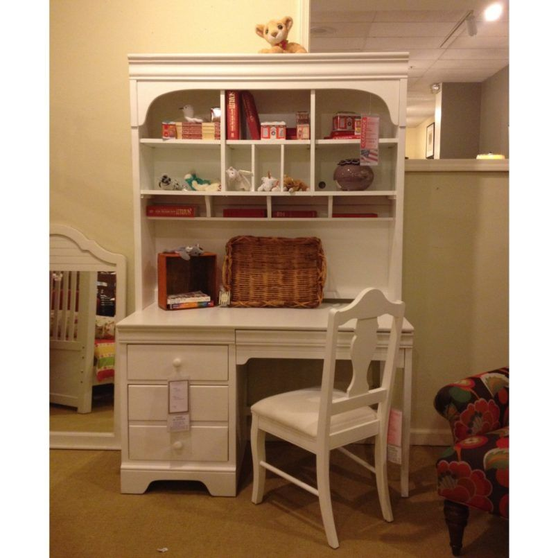 Furniture Simple White Wooden Girls Desk And Hutch With White