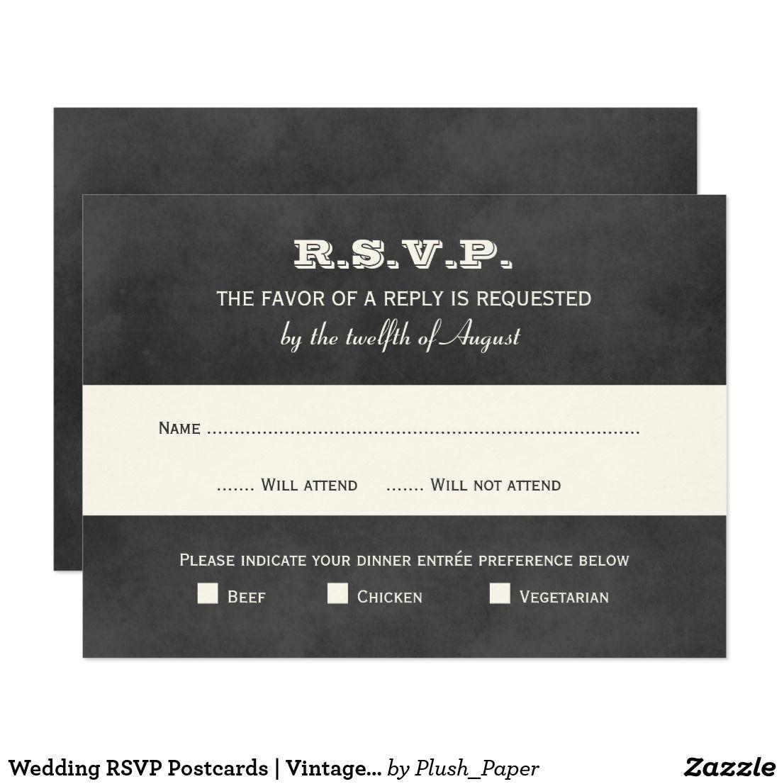 Wedding Rsvp Postcards Vintage Black Chalkboard Vintage Wedding