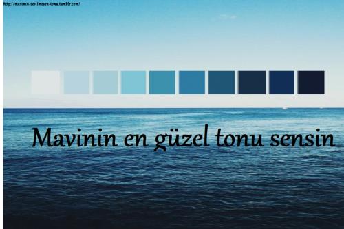 Tum Renklerin En Guzel Tonu Sensin Seninle Hayat Bir Baska Guzel Canimin Ici Mavi Sozleri Mavi Edebiyat
