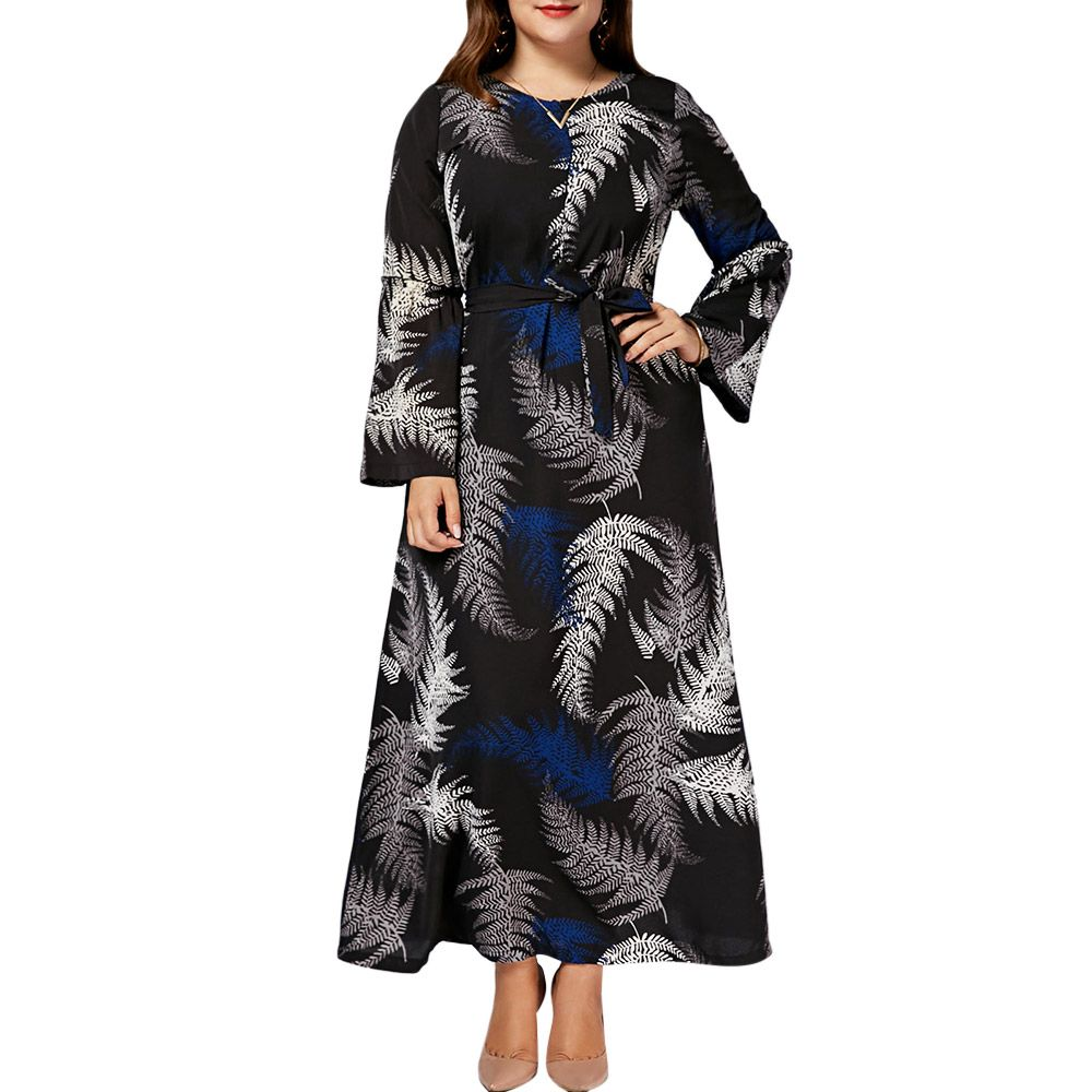 1a587ddfcc7 Casual Leaves Print Long Sleeve Beach Maxi Dress Women Clothing Long Sleeve  Chiffon Black Boho Dress Plus Size 3XL-7XL Price  37.98   FREE Shipping ...