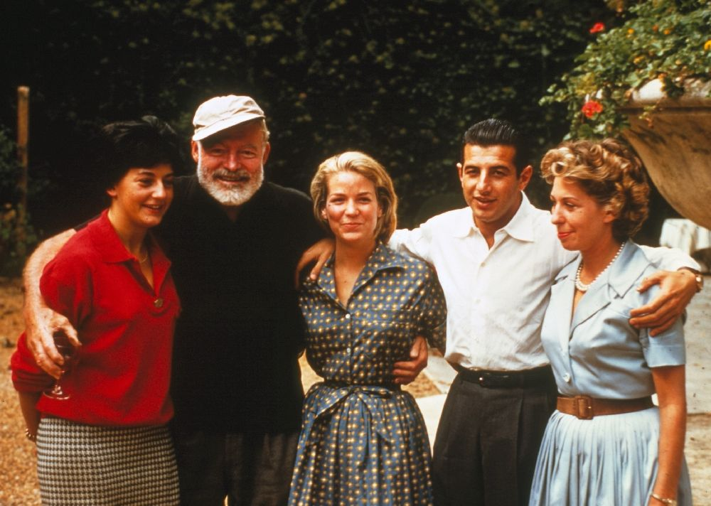 EH-C00712T Ernest Hemingway with Antonio Ordonez and others at the Ordonez farm, Spain, circa 1959.