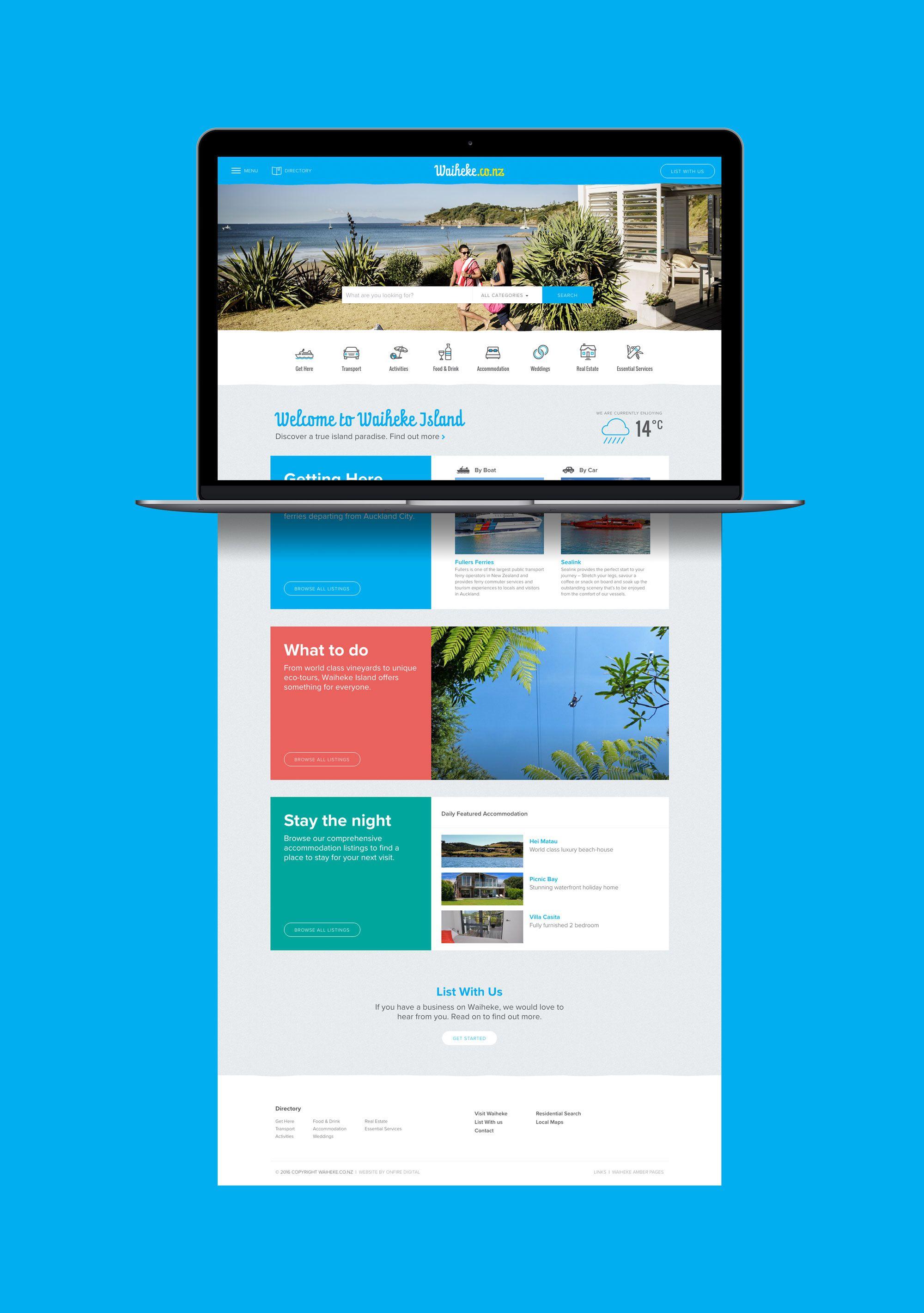 Onfire Design Waiheke Website Design 02 Website Design Digital Design Design