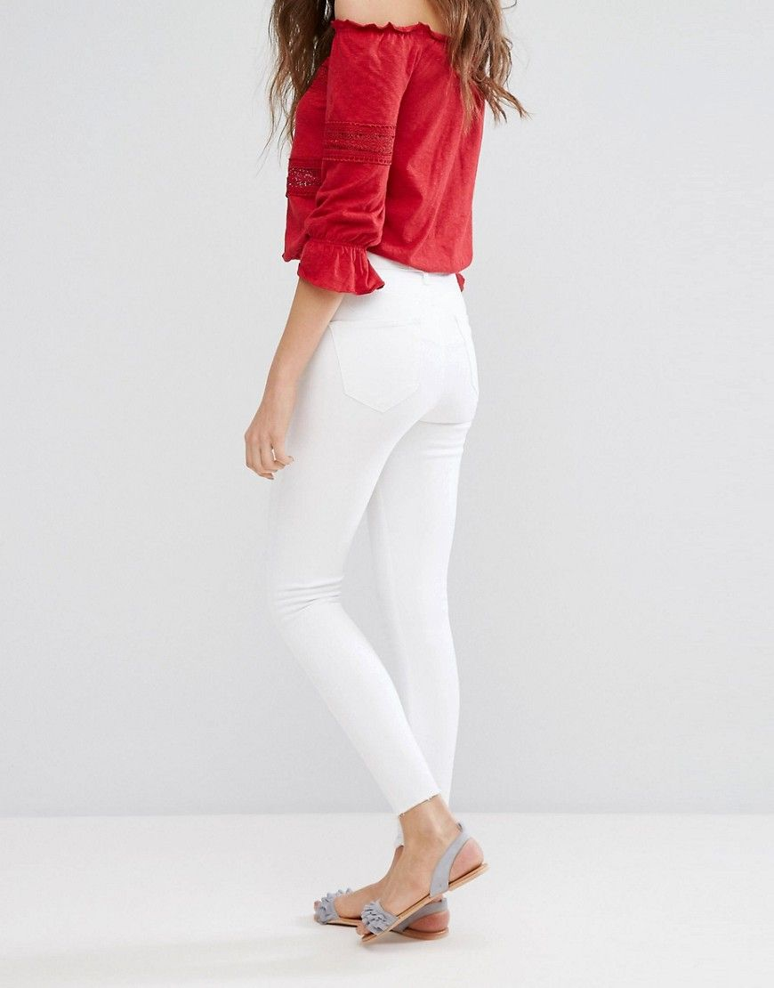 Frayed Hem Skinny Jeans - White Miss Selfridge Hox78YdFn