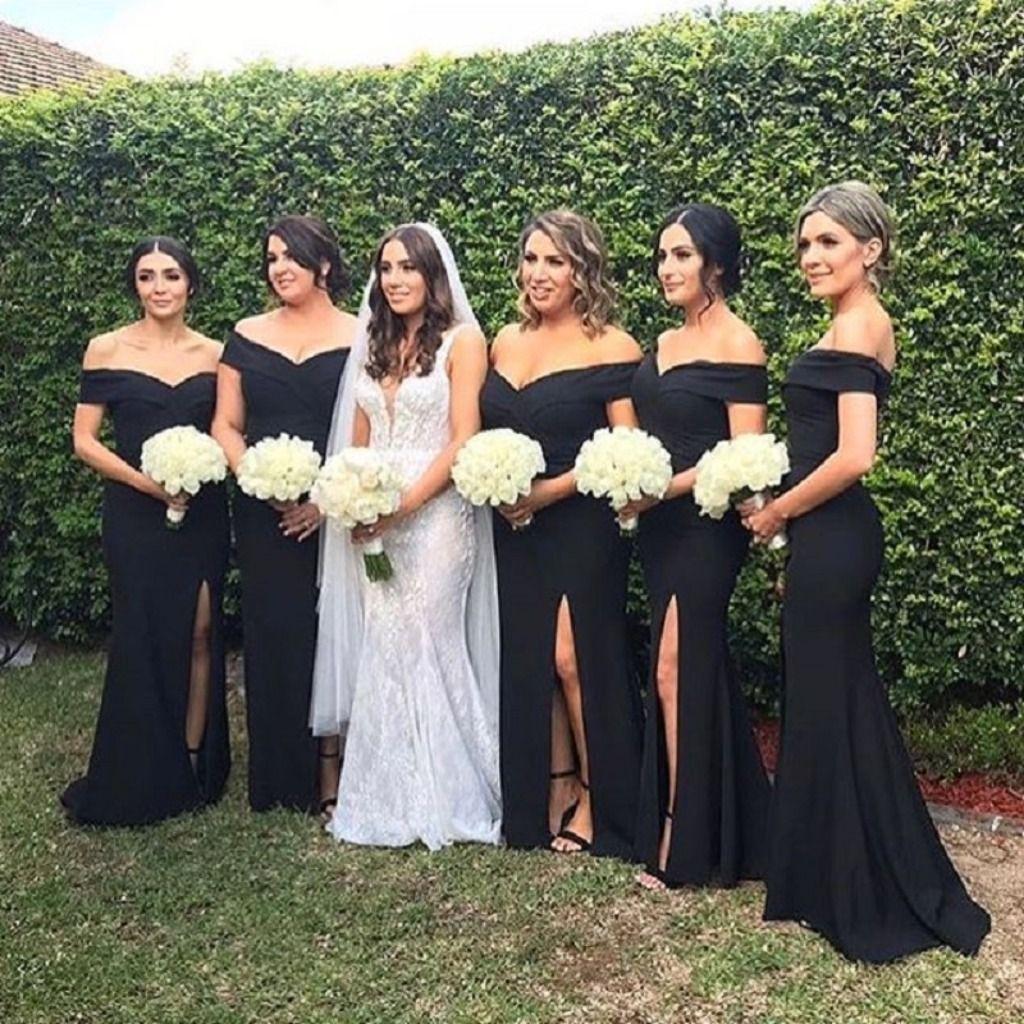 Bridesmaids In The Gia Off Shoulder Gown Black Bridesmaid Dresses Black Bridesmaid Dresses Long Mermaid Bridesmaid Dresses